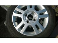 FORD KA ALLOY WHEELS AND TYRES SET OF FOUR.