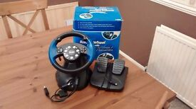 RACING/DRIVING WHEEL AND FOOT PEDALS