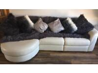 Cream Italian leather couch