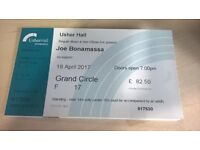 3 x Joe Bonamassa tickets (seating) for Edinburgh Usher Hall on 18 April 2017