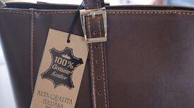 Brand New with Tags Genuine Italian Large Leather Handbag