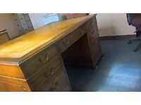 Twin pedastal desk with leather top