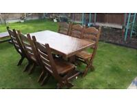 Home made farmhouse dining room table and six chairs (OAK Solid)