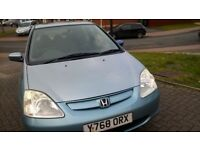 HONDA CIVIC, LONG MOT, CHEAP ON FUEL AND TAX, WORM LEATHER SEAT, CD ALLOY TIDY AND HEATING £575 ONO