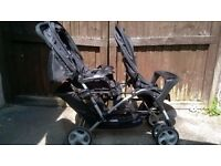 Graco Stadium Duo Travel System, double buggy / pram / stroller, with rain cover and care seat