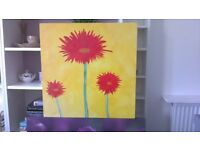 Yellow hand painted canvas with 3 red flowers