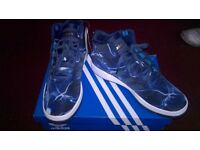 Adidas Originals Mens Veritas Mid Lightning Hi-Tops Dark Blue/White uk size 9.5