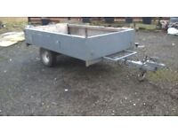 CAR TRAILER 750 KG galvanized metal body 6 1/2 FT LONG X 4 FT WIDE fold down door