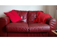 Cute deep red two seater sofa. Ideal for small space, comfy, lovely colour.