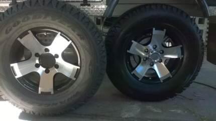 3 camper trailer caravan alloy rims and tyres  X3 goodyear wrangl