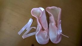 Tappers and Pointers Full Suede Soled Pink Satin Ballet Shoe (new)