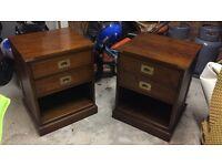 2x Dark Hardwood Side Tables - Top quality