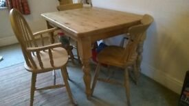 pine table 4x3 ft 4 chairs 1 carver see Cotswold @ £ 655 offered at £500