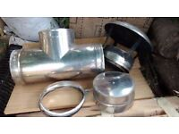 """6"""" Double wall flue T piece, Cowel, end stop and 2 clips for stoves or open fires £30"""