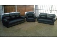 Leather 3 piece suite, 3+2+1 sofas and armchair, Brand New and unused, colour black, can deliver.