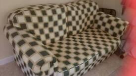 Double Green/Cream Check Metal Action Sofa Bed