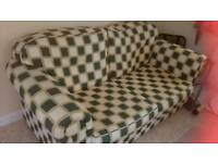 Double Green/Cream Check Metal Action Sofa Bed