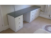 For sale eight bedroom draw units each having three draws, grey top and brushed chrome knobs