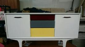 Retro teak sideboard painted white and colourful drawers