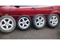 """FORD MONDEO MK4 ALLOY 16"""" x4,GOOD CONDITION ,TYRE GOOD BAR ONE."""