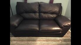 Brown leather 2str sofa