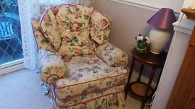 Pair of Ivory Floral Armchairs ideal Living Room or Conservatory