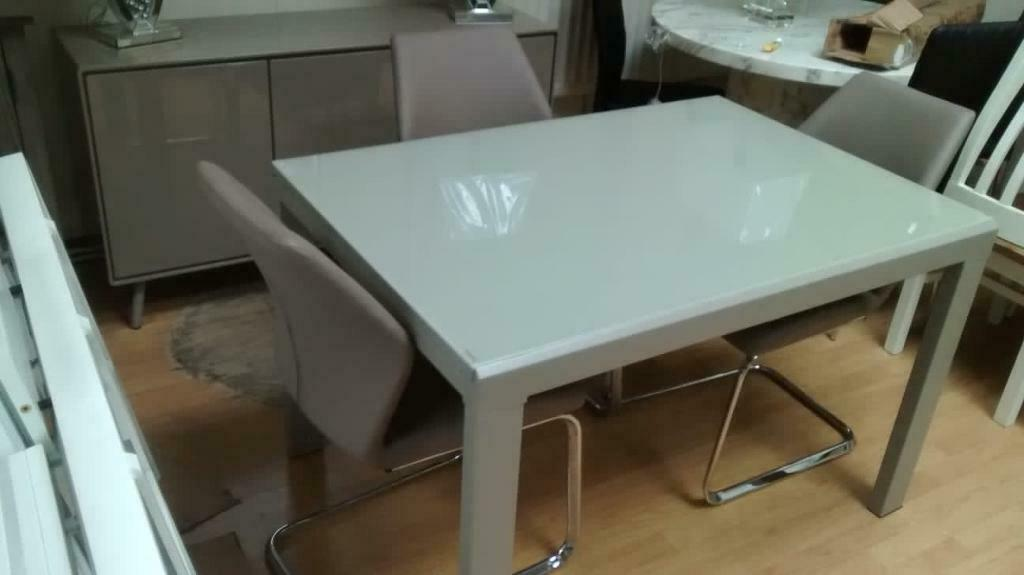 High Gloss Dining Table In Latte Colour And Four Motion Chairs In Taupe From Furniture Village In Nottingham Nottinghamshire Gumtree