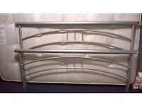 Lovely double bed - brushed silver frame (mattress in great condition included)