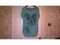 Yours Size 16 Ladies Turquise Floral Print Top T-Shirt