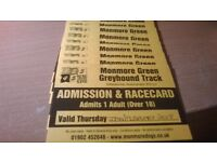 12 race cards and entry tickets to monmore green £30