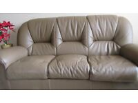 3 Seater Leather Sofa in a Taupe colour