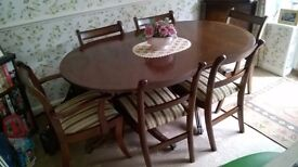 Reproduction Mahogany Dining Table with 6 chairs (incl 2 Carvers) and matching corner display unit