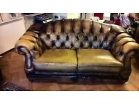 Chesterfield Brown/tan leather 2 seater settee. In very good condition and comfortable