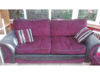 Sofa, circular swivel armchair & pouffe