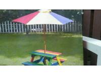 Childrens wooden picnic bench with parasol new