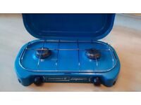 Camping stove, dual burner with lid