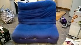 Futon Sofa / Bed with Blue Mattress