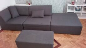Combination suite in charcoal includes delivery.