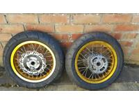 Pit / motor bike treaded wheels and tyres