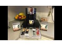 Starbucks Verismo Coffee Machine + tempered glass pod holder+ milk frother bundle