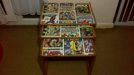 PINE NEST OF TABLES COVERED IN MARVEL DESIGN – SOME WEAR & TEAR ON TABLE EDGES – W56 X D41 X H43CM