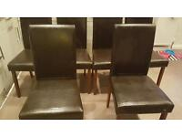 6 x faux leather dining chairs and table