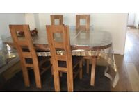 Natural Solid Oak Extending Crossed Leg Dining Table