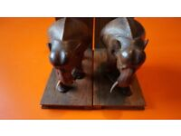 PAIR OF VINTAGE BOOK ENDS SOLID HEAVY HARD WOOD ORNATE HAND CARVED ELEPHANTS.