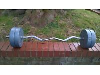 Olympic curl bar with 20KG weights