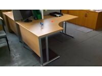 Used Beech Curved Desk