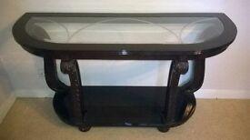Hall/Console Table Dark wood (Mahogony colour) & glass
