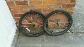 "Pair 24"" mtb wheels and tyres"