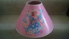 Barbie Downlighter pendant light shade Pink base with 3 x Blue barbie images inside and outside