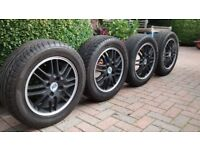 """Set of 4 Ford 15"""" alloy wheels, 4 stud, good condition with good tyres."""